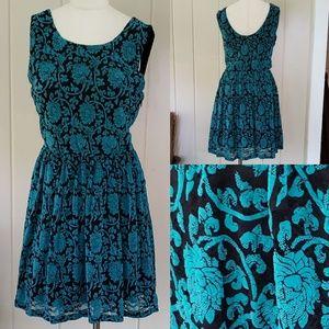 Altar'd State | XL teal & black velvet dress